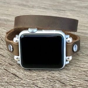 Stainless & Vintage Brown Apple Watch Strap Band